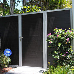 """Miami Beach Residence - Matching 4"""" Mocha wood-grain aluminum slats with Silver framing.  3' swing gate with self-closing hinges and hardware to meet pool code."""