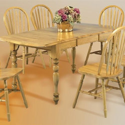 """Sunset Trading - 5-Pc Eco-Friendly Extension Table Set - Includes one extension table and four aspen style chairs. Traditional classic beauty and style. Sturdy quality craftsmanship. Table:. Classic American piece. light oak top. Classic and timeless, and with the memories made. Solid handcrafted hardwood extension table perfect for the smallest of spaces yet opens to 72 in.. Removable 18 in. Leaf and two 10 in. drop leaves convert table from 34 in. x 34 in. up to 34 in. x 72 in.. Chair:. Curved, comfort back and scooped seat. Perfectly carved and steel reinforced turned legs. Large contoured backrest and seating area to provide ideal seating solution. Warranty: One year. Made from Malaysian oak. Light oak finish. Made in Malaysia. Table assembly required. Chair: 20 in. W x 19.5 in. D x 38 in. H (16 lbs.). Table:. Minimum: 36 in. L x 34 in. W x 30 in. H. Maximum: 72 in. L x 34 in. W x 30 in. H. Weight: 130.16 lbs.Welcome guests into your home with a touch of country comfort with this from the Sunset Trading - Sunset Selections Collection. Whether it's casual """"coffee and conversation"""", everyday dining, holidays or special occasions, memories are guaranteed to be made when family and friends gather around this versatile dining table. Warm and inviting, the classic beauty and craftsmanship of this dining tables makes it equally appropriate for your kitchen or dining room fulfilling all your formal and informal dining needs. Pair this table with your choice of Sunset Selections arm and side chairs to appropriately complete your informal or formal dining space. This relaxed dining piece will bring warmth and comfort to your home for years to come! Complete your dining decor with the country charm of timeless casual dining chairs from the Sunset Trading - Sunset Selections Collection."""