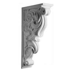 "Inviting Home - Lucia Decorative Bracket - decorative bracket 17-1/4""H x 3-5/8""W X 8-5/8""D Polyurethane Corbels/Brackets are factory primed and suitable for painting glazing or faux finish. This corbel is manufactured from high-density furniture grade polyurethane material that is water and heat resistant impervious to insect infestation and odor free. Polyurethane corbels are easier to install than plaster or gypsum due to their light weight dimensional stability precise tolerances and flexibility."