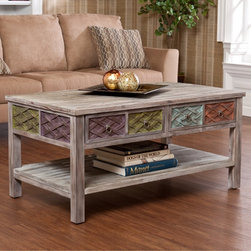 Upton Home - Upton Home Lafond Cocktail/ Coffee Table - This rustic coffee table blends a hint of color with a weathered white-washed style. Made of fir,this table has two drawers and an open shelf for displaying collectibles. The transitional style works well with both modern and classic decor.