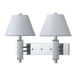 Cal Lighting - Cal Lighting LA-8003W2L-1CH 60 W X 2 Wall Lamp w/3-Way Push Switch - 60W X 2 WallLamp w/3-Way Push Switch