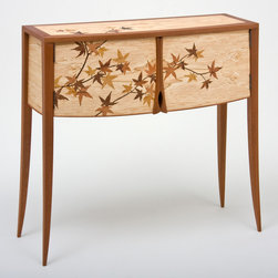 Japenese Maple Leaf Cabinet - A small two door cabinet in Honduran Mahogany and Spalted Maple with marquetry imagery of Japanese Maple Leaves and branches flowing across the front and top of the cabinet.  The cabinet is finished with satin Conversion Varnish and Lacquer.