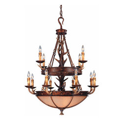 """Savoy House - 16 Light Up / Down Lighting Chandelier from the Blue Ridge Collection - Blue Ridge Collection Chandelier36""""W x 48""""H12C+4E 60WExcavated GlassCream Drip Candle CoversAll Savoy House Chain Hung Fixtures include 10 feet of chain and 15 feet of wire"""
