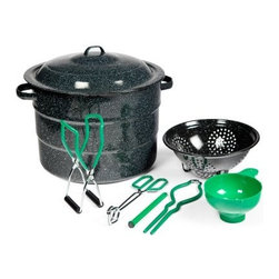 Granite Ware 21.5 Quart Steel Water Bath Canner 9 Piece Kit - Get started canning right away with the Granite Ware F0718-1 21.5 Quart Steel Water Bath Canner 9 Piece Kit complete with all the great accessories listed below! Enjoy your favorite home-grown fruits and vegetables all year long! Easy to use and made of durable porcelain over steel this huge pot holds 7 quart jars 9 pint jars or 13 half-pint jars. The included wire jar rack makes lifting jars out easy and it's custom-fit to not waste any space. This canner has a flat bottom so it works well on gas or electric stoves and has loop handles on both the lid and the pot for extra safety. Domed lid traps in heat. Dishwasher-safe too! Pot dimensions: 16.25L x 10W x 14.25H inches. It's the easy way to serve safe wholesome and delicious food. 9-piece kit includes all this:21 quart canner and lid7-jar rack9-inch colanderLid wrenchFunnelTongsJar lifterMagnetic lid lifter About Columbian Home ProductsNo one knows the ins and outs of the kitchen better than Columbian Home Products. Specialists in cookware bakeware canning pizza pans roasters and even tea kettles CHP sets high standards for all things delicious. From appetizer to dessert they have your cookware. Their central location in Lake Zurich IL means fast delivery.