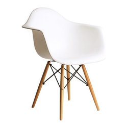 Ariel - Eames Style Daw Molded White Plastic Dining Armchair with Wood Eiffel Legs - A true modern classic design, this classic dining armchair with wood Eiffel legs remains popular today in cafes, home offices, and dining areas. Sporting a clean, simple, retro, yet modern design sculpted to fit the body, this gorgeous armchair is the perfect addition to the home or office. Available in white, black, or light blue.