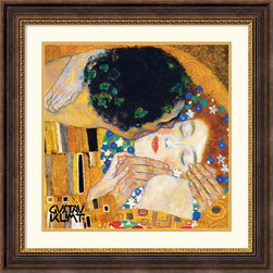 Amanti Art - The Kiss (Der Kuss), detail 1 Framed Print by Gustav Klimt - Evoking the Byzantine luxuriance of form, Klimt was a master of conveying sensuality and mystery through decorative texture and tracery. The sumptuous gold patterns found in The Kiss make it a unique symbol of romance.