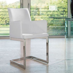 Sonia B Chair - Chair with arms, chrome or varnished steel frame. Leather or fabric covered seat and back.