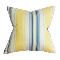 """The Pillow Collection - Douce Stripe Pillow Blue Yellow 18"""" x 18"""" - Bring a touch of practicality to your home with this polished accent pillow. This square pillow features a sleek looking stripe pattern in shades of blue, yellow and white. This decor pillow looks great on its own and can easily blend with other patterns. This 18"""" pillow provides comfort and style. Constructed with 100% soft cotton fabric. Hidden zipper closure for easy cover removal.  Knife edge finish on all four sides.  Reversible pillow with the same fabric on the back side.  Spot cleaning suggested."""