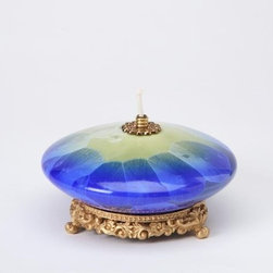 ATD - 4 3/8 Inch Light Green and Blue Saucer Shaped Collectible Oil Lamp - This gorgeous 4 3/8 Inch Light Green and Blue Saucer Shaped Collectible Oil Lamp has the finest details and highest quality you will find anywhere! 4 3/8 Inch Light Green and Blue Saucer Shaped Collectible Oil Lamp is truly remarkable.
