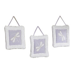Sweet Jojo Designs - Purple Dragonfly Dreams Wall Decor - The Purple Dragonfly Dreams Wall Decor by Jojo Design include 3 wall hangings that will add a designers touch to any childs room! These childrens wall hangings are handcrafted with care and will brighten any childs room or nursery.