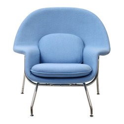 Nest Lounge and Ottoman Set in Light Blue - The view from your bay windows gets even better when you're seated in this Mid-Century Lounge Chair and Ottoman. Subtle yet elegant in an aquatic blue, the chair's cooling hue and welcoming silhouette make the simple act of gazing a delight. Melt into its womb-like shell and take yourself out of the daily grind and into a state of ultimate relaxation.