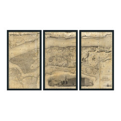 """Christopher David - New York Artifact Map, 3-Panel Mural, Grey Metal Frame - Material: Wood or metal, glass Finish: Matte black wood or industrial grey metal Dimensions: 63""""W X 37""""H (approximate size of entire mural, without frame spacing)"""