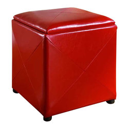 Modus Furniture - Modus Upholstered Milano Storage Cube in Red Leatherette - Modus Furniture - Ottomans - ML9792F - Add a degree of contemporary elegance to any room in your home with the Milano Storage Cube. Four square leather paneling wraps a square storage compartment accessible by a removable and reversible padded leather top, and the reverse side of the lid is a hardwood serving tray for added convenience.