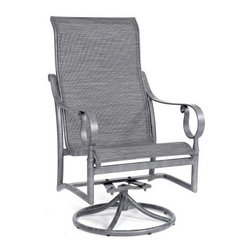 Woodard Ridgecrest Sling High Back Swivel Rocker Dining Chair - The Woodard Ridgecrest Sling High Back Swivel Rocker Dining Chair is a simple and alluring way to spend more time enjoying the sweetest parts of the season. The wide base offers stability and a smooth swiveling motion that's paired with a heavy-duty rocking hinge. The frame is formed from rust-proof aluminum that's covered in your choice of classic frame finishes, creating a surface with maximum resistance to the elements. Inside that sleek, robust frame is a wide, comfy sling of Sunbrella's exciting outdoor fabric. This material is designed to withstand the rigors of outdoor life, so it's fade-resistant, quick-drying and easy to clean. When you take a look through our wide selection of fabric colors and styles, you'll begin to see why staying indoors this summer is pretty over-rated.Important NoticeThis item is custom-made to order, which means production begins immediately upon receipt of each order. Because of this, cancellations must be made via telephone to 1-800-351-5699 within 24 hours of order placement. Emails are not currently acceptable forms of cancellation. Thank you for your consideration in this matter.Woodard: Hand-crafted to Withstand the Test of TimeFor over 140 years, Woodard craftsmen have designed and manufactured products loyal to the timeless art of quality furniture construction. Using the age-old art of hand-forming and the latest in high-tech manufacturing, Woodard remains committed to creating products that will provide years of enjoyment.Superior Materials for Lasting Durability In the Aluminum Collections, Woodard's trademark for excellence begins with a core of seamless, virgin aluminum: the heaviest, purest, and strongest available. The wall thickness of Woodard frames surpasses the industry's most rigid standards. Cast aluminum furniture is constructed using only the highest grade aluminum ingots, which are the purest and most resilient aluminum alloys available. These alloys strengthen the furniture and simultaneously render it malleable. The end result is a fusion of durability and beauty that places Woodard Aluminum furniture in a league of its own. Fabric, Finish, and Strap Features All fabric, finish, and straps are manufactured and applied with the legendary Woodard standard of excellence. Each collection offers a variety of frame finishes that seal in quality while providing color choices to suit any taste. Current finishing processes are monitored for thickness, adhesion, color match, gloss, rust-resistance and, and proper curing. Fabrics go through extensive testing for durability and application, as well as proper pattern, weave, and wear.Together, these elements set Woodard furniture apart from all others. When you purchase Woodard, you purchase a history of quality and excellence, and furniture that will last well into the future.