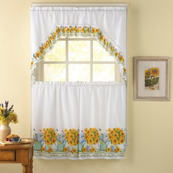 CHF Industries - CHF Industries Flower Pot 36 in. Kitchen Curtain Set Multicolor - 1Z44130YMU - Shop for Curtains and Drapes from Hayneedle.com! The CHF Industries Flower Pot 36 in. Kitchen Curtain Set is all that and a bag of chips. Featuring a floral theme this set is crafted of 70 percent polyester and 30 percent cotton and it's machine washable for convenience.About CHF IndustriesCHF Industries based in New York is known for its home textile products and is the largest private-label supplier of retail-specific bedding products. CHF offers a diverse range of window products like panels valances shades kitchen tiers and even window hardware. CHF innovates with fashionable solutions such as energy-efficient interlined window panels taking steps to introduce organic products to protect the environment.