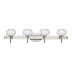 Besa Lighting - Besa Lighting 4SW-561207 Lasso 4 Light Reversible Halogen Bathroom Vanity Light - The Lasso is a wide yet compact handcrafted glass, with distinctive ridges, softly radiused to fit gracefully into contemporary spaces. Our Opal glass is a soft white cased glass that can suit any classic or modern decor. Opal has a very tranquil glow that is pleasing in appearance. The smooth satin finish on the clear outer layer is a result of an extensive etching process. This blown glass is handcrafted by a skilled artisan, utilizing century-old techniques passed down from generation to generation. The vanity fixture is equipped with decorative lamp holders, removable finials, linear rectangular housing, and a removable low profile oval canopy cover.Features: