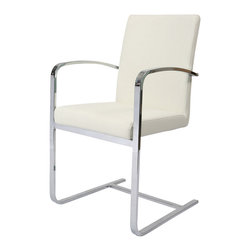 Pastel Furniture - Pastel Monaco Arm Chair - Chrome - PU Ivory Seat [Set of 2] - Arm Chair in Chrome Metal finish and Upholstered in PU Ivory Fabric.