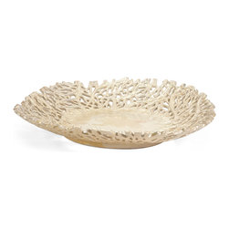 Vargas Cutwork Charger - With intricate detailing resembling graceful climbing vines, the Vargas Cutwork charger has an organic elegance and a stunning textural appeal sure to enhance any decor. For a coordinated look purchase matching pieces.