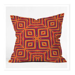 "DENY Designs - Wagner Campelo Sanchezia X Throw Pillow - Wanna transform a serious room into a fun, inviting space? Looking to complete a room full of solids with a unique print? Need to add a pop of color to your dull, lackluster space? Accomplish all of the above with one simple, yet powerful home accessory we like to call the DENY Throw Pillow! Features: -Wagner Campelo collection. -Color: Print. -Material: Woven polyester. -Sealed closure. -Spot treatment with mild detergent. -Made in the USA. -Closure: Concealed zipper with bun insert. -Small dimensions: 16"" H x 16"" W x 4"" D. -Medium dimensions: 18"" H x 18"" W x 5"" D. -Large dimensions: 20"" H x 20"" W x 6"" D. -Product weight: 3 lbs."