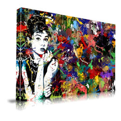 "Apt2B - 'Audrey Hepburn' Print by Maxwell Dickson, 16"" x 20"" - Show off your restrained glamour — and your wild abandon — with this paint-spattered Audrey Hepburn wall hanging. Printed with water-based, ecofriendly inks on archival museum-quality gallery wrapped canvas, it comes in different sizes ready to hang."