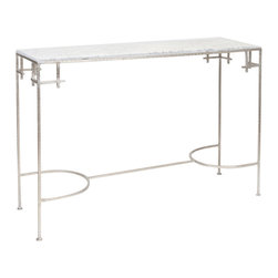 Worlds Away - Worlds Away Silver Leaf Console Table with White Marble Top MARCY SW - Hammered Champagne silver leaf console with black marble top.