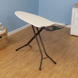 Household Essentials 974406 Mega Wide Fibertech Ironing Board - Additional information:Thick fiber pad provides matte-free resilient surfaceExtra large 18- x 49-inch ironing surfaceMetal leg locks hold legs in place for easy storageIron rest holds iron at an angle (ideal for steam irons)Included hanger bar keeps freshly ironed clothes wrinkle-freeTaking the wrinkles out of ironing the Household Essentials 974406 Mega Wide Fibertech Ironing Board eliminates the hassles associated with this laundry chore. Complete with an extra-wide surface for pillows and sheets this ironing board also features an angled iron rest (for steamers) a hanger bar and a thick fiber pad.About Household EssentialsCertified by Cradle to Cradle for environmental and sustainable properties Household Essentials is dedicated to meeting your needs at home and in the future. Household Essentials offers customers the latest in laundry and storage innovation while always mindful of quality standards and product responsibility. Every piece in the Household Essentials line is borne from a commitment to environmental health and at-home organization safety and style.