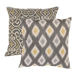 Pillow Perfect Damask & Rodrigo Graphite Throw Pillows - Set of 2 - Give your style an instant modern upgrade and twice the style with the Damask & Rodrigo Throw Pillows in Graphite (Set of 2). This set includes two reversible pillows in complementary colors of graphite gray, white, and yellow. One has a diamond pattern, the other a contemporary damask you'll love. Both have a shell of 100% cotton that is filled with plush polyester fiber to feel as good as they look. About Pillow PerfectPillow Perfect was founded by Paul and David Ratner, two brothers with a passion for comfortable design, stylish functionality, and a commitment to pleasing their customers. With over 25 years in the business, the founders of Pillow Perfect operate just North of Atlanta, Georgia and have been producing products that add style and color to home and patios across the US. Keeping up with styles, trends, consumer needs, and quality assurance makes them a major player in the industry. Their manufacturing facility brings all their ideas together and makes them a reality for customers all over the country and through drop-ship online retailers, all over the world.