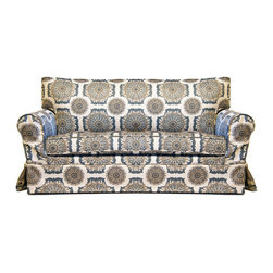"Mini Ava 40"" Sofa - The Mini Conrad Sofa features a sweet little scroll arm it's a scaled replica of Jaxon Home's classic Conrad collection - upholstered in a playful (and durable) print for children. The slipcover is also removable for easy cleaning!"