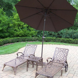 Oakland Living - 4-Pc Traditional Chaise Lounge Set - Includes two chaise lounges, side table and 108 in. Dia. tilting umbrella with stand. Crisp and stylish lattice pattern and scroll work. Lightweight. Metal hardware. Fade, chip and crack resistant. Warranty: One year limited. Made from rust-free cast aluminum. Antique bronze hardened powder coat finish. Minimal assembly required. Chaise Lounge: 71 in. L x 25.5 in. W x 35 in. H (68 lbs.). Side table: 17.5 in. W x 17.5 in. D x 19 in. H (15 lbs.)The Oakland Mississippi Collection combines southern style and modern designs giving you rich addition to any outdoor setting. This set will be beautiful addition to your patio, balcony or outdoor entertainment area. Our Chaise lounger sets are perfect for any small space or to accent larger space. We recommend that products be covered to protect them when not in use. To preserve the beauty and finish of the metal products, we recommend applying epoxy clear coat once a year. However, because of the nature of iron it will eventually rust when exposed to the elements.
