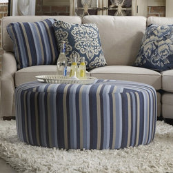 Sam Moore Renee Round Ottoman - The Sam Moore Renee Round Ottoman - Elude Indigo is a handsome ottoman that will no doubt jazz up your living space. Use it as a foot rest, as an extra seat for guests, or as a casual table.
