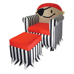 Jakie Kids Pirate Chair and Ottoman Set - Avast! Sink into the decidedly friendly embrace of this cute pirate next time you want to read or daydream.
