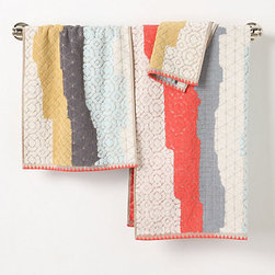 Sechura Towels, Taupe - Coral works best for me when it's used as an accent — these towels hit the jackpot on interest.