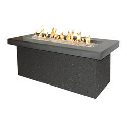 The Outdoor Greatroom - Key Largo Fire Pit With Midnight Mist Supercast Top And Grey Tereneo base - A showcase of fire, the Key Largo fire pit features a beautiful, glowing fire that dances atop a bed of fire glass. This simple, modern design will look great in any outdoor rated living space! The focal point of the design is a striking 42x12 inch stainless steel Crystal Fire Burner. The truly magnificent fire will light up the night and add warmth to your life. These burners are made from high quality stainless steel and include tempered, tumbled fire glass, an LP regulator and hose, a metal flex hose, a gas valve, and a push button sparker. With just a push of a button, a beautiful clean-burning fire appears atop a bed of highly reflective Diamond glass fire gems. All burners are shipped with orifices for LP or NG fuels and are UL approved for safety and quality. Adjust the flame height to your desired setting and enjoy the magic and ambience of a warm glowing fire