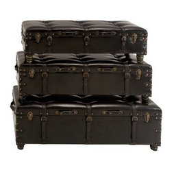"""Benzara - Set of 3 Antiqued Rub Through Leather Straps Benches - Set of 3 Antiqued Rub Through Leather Straps Benches. Sleek designer high quality leatherette benches. Dimensions: Large Bench: 18""""H x 52""""Lx 18""""D, Medium Bench: 15""""H x 44""""L x 15""""D and Small Bench: 13""""H x 44"""" x 13""""D."""