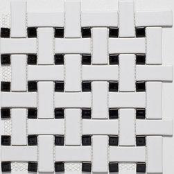Ceramic White/ Black Basketweave Mosaic Tiles - Basketweave Mosaic Tiles from Mission Stone & Tile