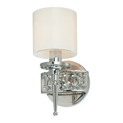 "Troy - Collinburg 10 1/2"" High Wall Light - This wall light fixture takes a cue from Hollywood with a glamorous look. Clear opal glass is balanced by a polished nickel finished frame which is studded with diamond crystal accents. Take your bath decor to the next level with this chic bath light from the Collinburg Collection. Polished nickel finish. Clear opal glass. Diamond crystal accents. Takes one 60 watt candelabra bulb (not included). 10 1/2"" high. 5 1/2"" wide. Extends 6 1/2"" from the wall.  Polished nickel finish.  Clear opal glass.  Diamond crystal accents.  Takes one 60 watt candelabra bulb (not included).  10 1/2"" high.  5 1/2"" wide.  Extends 6 1/2"" from the wall."