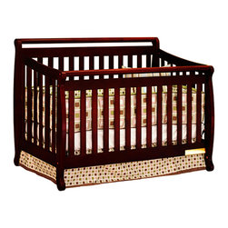 AFG Baby - AFG Baby Amy Convertible Crib with Toddler Rail in Cherry - Featuring a round bar design across a sleigh style crib, the Amy 3 in 1 Convertible Crib combines timeless style and long-term durability into a popular crib with many standard features such as 4-level mattress support which can be adjusted throughout your baby's growth, solid wood construction, and toddler bed and full-size conversions. Wider, thicker slats on all sides of the crib lend durability to the entire crib structure. Guardrail included and full-size conversion rails sold separately. All Athena products meet and exceed the latest US safety standards. The Amy crib is a simple and charming crib perfect for your modern nursery.