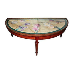 Pre-owned Rosewood Demi-Lune Coffee Table - Unique demi-lune cocktail table in solid rosewood. This sweet piece has an applied floral decorated top in a decoupage style, with real dried stems, velvet edged ribbon all under the glass surface. Worn gilt edge on the rim , that was repaired, and Louis XVI style channeled legs.     This piece is in good vintage condition, but could use some love to bring out it's full potential.