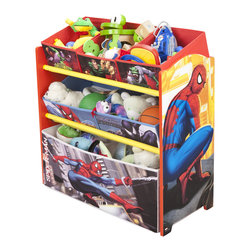Adarn Inc - Children American Hero Spiderman Multi Fabric Bins Toy Book Organizer Box - The charming and functional Spider man Multi-Bin Toy Organizer makes tidying up fun. Each tier of the organizer serves its own function. It features an adorable Spider man inspired design theme that complements other Spider man items. Complements other items sold separately online by children's products. With a brand new color scheme, and six uniquely sized storage boxes, this organizer makes cleaning up easy and exciting. Meets all JPMA safety standards. Some assembly required.