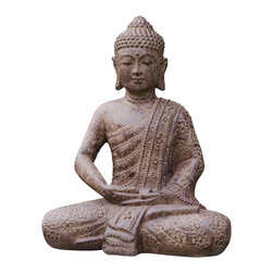 Repose Home - Blossom Buddha, Stone Grey - Adorned in an intricately detailed, lotus-covered robe, Buddha sits in serene meditation. This statue is cast in volcanic stone and finished with an elegant, stonewashed varnish that is suitable for use in the home or garden.