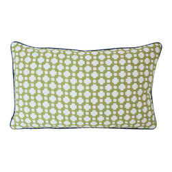 The Pillow Studio - Grass Green Betwixt with Navy Blue Piping - Lumbar Pillow Cover - This texturedgrass green pillow will become a subtle focal point to any room; it has a great geometric design and the navy blue piping adds just the right amount of color.