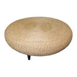 Bahari - Water Hyacinth Round Coffee Table - Water Hyacinth round coffee table with solid Teak wood cone shape legs.  Top is water hyacinth weave in natural color with polyurethane matte finish.