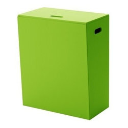Gedy - Green Laundry Basket of Faux Leather - Need a laundry basket? This one is a floor standing modern laundry basket that will fit perfectly into your contemporary personal bathroom.