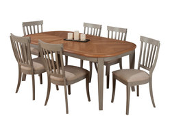 Jofran - Jofran 771-78 Pottersville 7-Piece Oval Dining Room Set in Antique Grey - Traditionally styled this set has a beautiful soft grey finish with cherry veneer. The slat back side chairs boast a comfortable cushion making this the perfect set to spend leisurely mornings and evenings with family and friends enjoying each other's company. Complete the look with an accompanying server that offers plenty of storage and a removable wine rack.