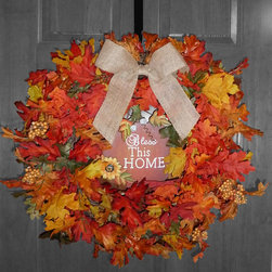 Hand Made Wreaths - New design and fall wreath!  Autumn wreath made from artificial leaves and berries, adorned with a burlap bow.