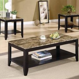 Coaster - 3-Pc Casual Occasional Table Set in Black Fin - Includes one coffee table and two end tables. Rectangular shape. Lower storage shelf. Marble look top. Tapered feet. End table: 22 in. W x 20 in. D x 22 in. H. Coffee table: 47.63 in. W x 23.63 in. D x 18 in. H. WarrantyMake a statement in your living room with a three piece occasional table set that's sure to take center stage.