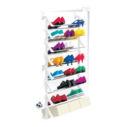 Over-the-Door Shoe Rack, White - This gives you another excuse to buy more shoes! When storing them is this easy, you can make room for several new pairs. Keep your shoes off the closet floor and out of their boxes so that you can easily pull out a pair while getting dressed.