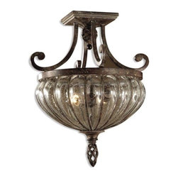 Uttermost - Uttermost Galeana 2 Light Semi Flush Mount - Mouth blown glass banded and structured with iron, and trimmed with rope and open weave touches, then finished with clay patinas to make this casually elegant lighting a statement piece wherever it's used.