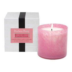 Duchess Peony / Powder Candle - The lightly marbled pink glass of the Duchess Peony Powder Room Candle makes a room feminine and inviting, creating a subtle and sophisticated impression with the intimacy of a votive candle within the grandeur of an oversized art glass vessel. Its soy wax, scented with peony and camellia blooms for an evocative romance, burns cleanly while supplying this classic scent.