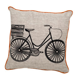 Retro Bicycle Pillow Black & Oatmeal - In bright and happy prints, these pillows bring a sense of whimsy. Throw them onto any sofa or bed for instant style